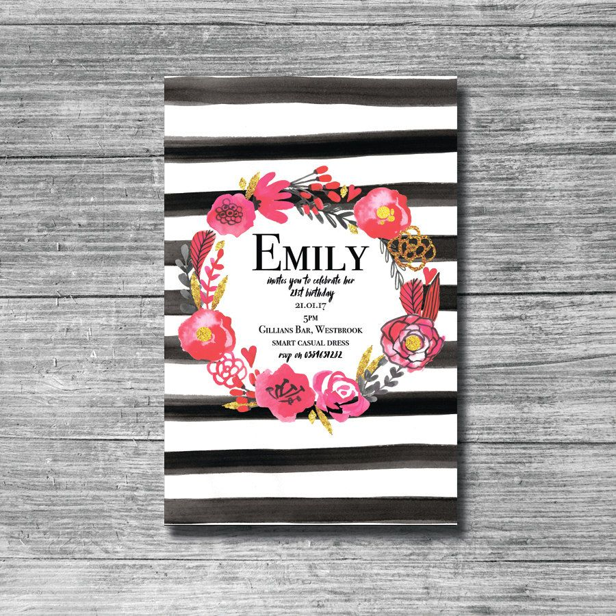 Floral 21st Invitation, Stripes Invitations, 21st Birthday ...