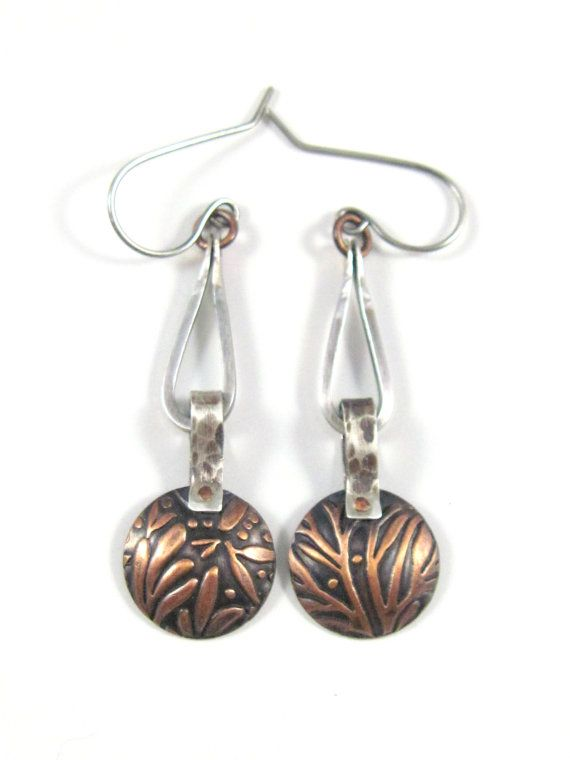 Mixed Metal Rustic Riveted Leaf Pattern Stirrup Earrings, Recycled ...