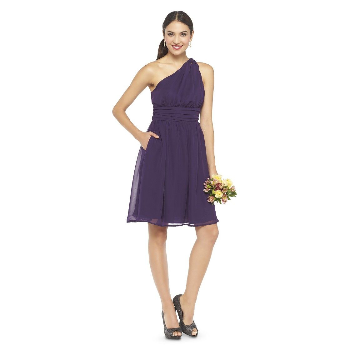 Women\'s One Shoulder Chiffon Bridesmaid Dress - TEVOLIO™ | Purple ...