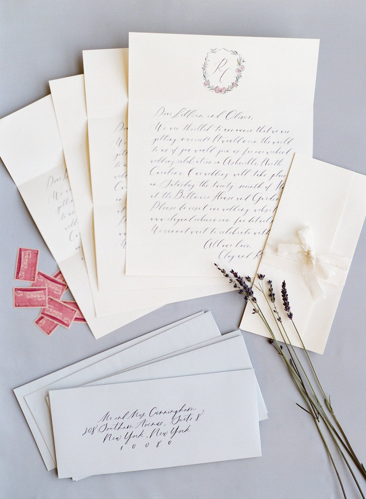Save the Dates were reminiscent of hand-written letters, with each ...