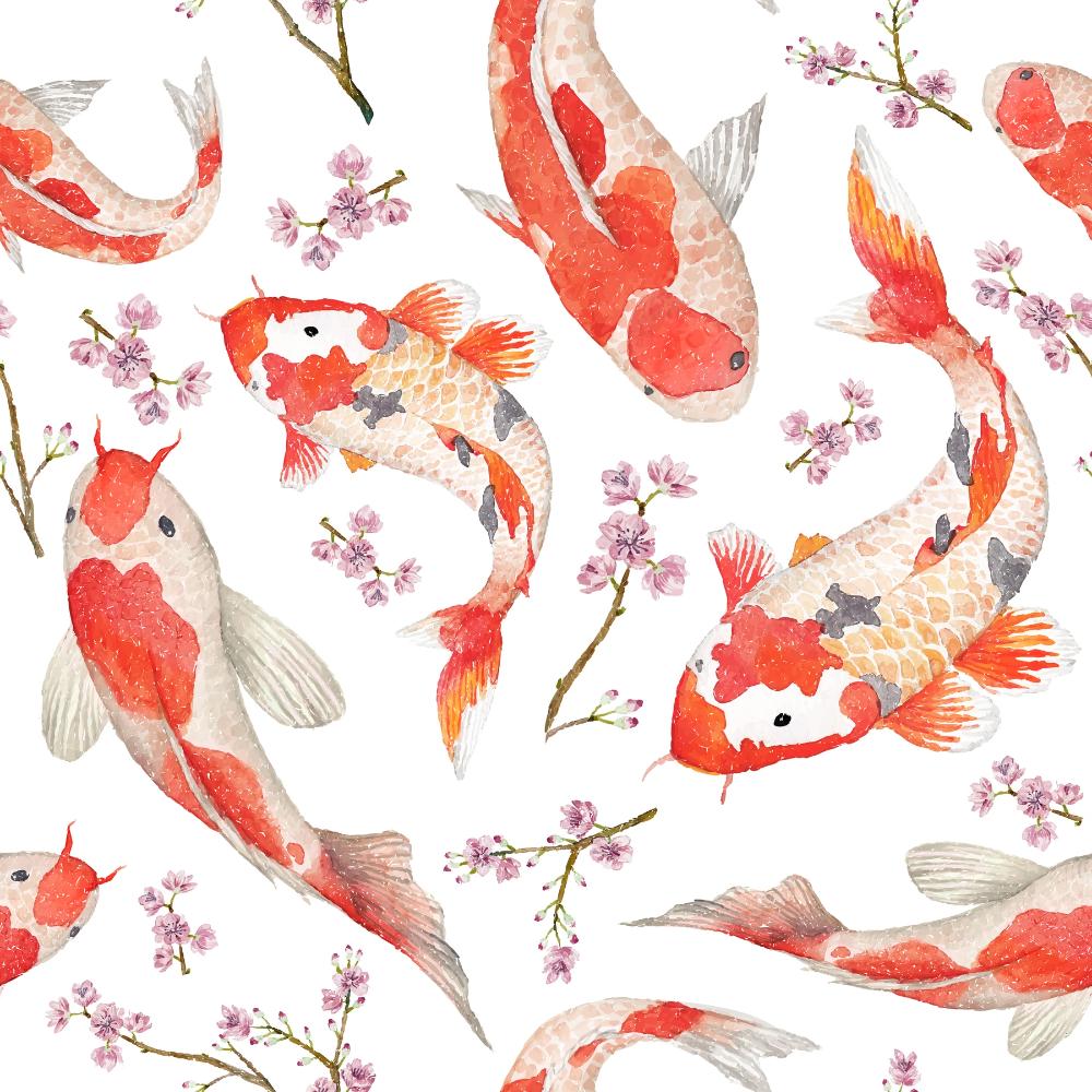 Asian Style Japanese Red Fish Koi Carp Multicolored