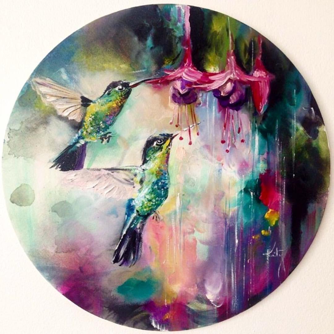 Katy Jade Dobson - 2014 / Oil on circle canvas / Hummingbirds