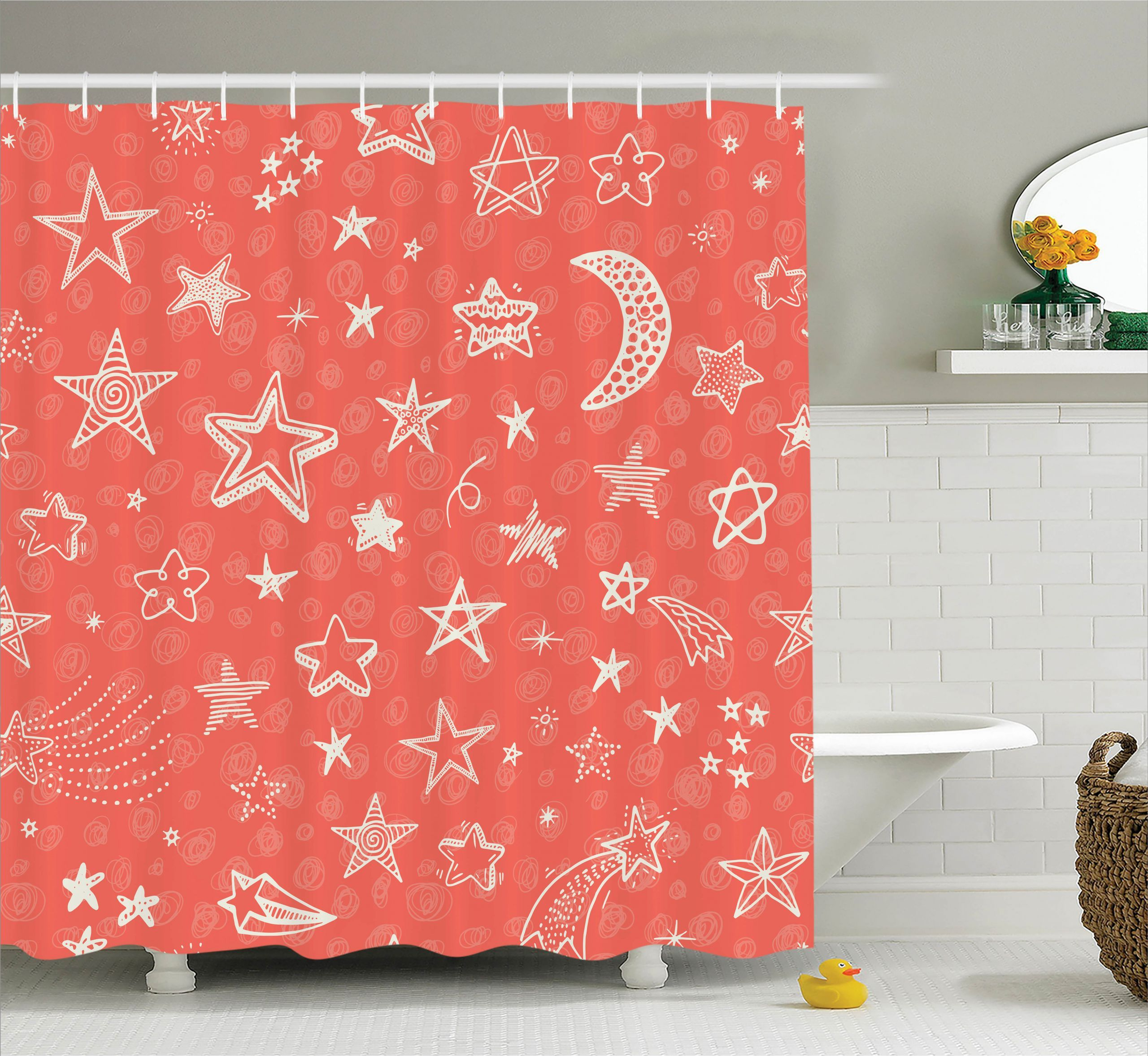 24 Moon And Star Bathroom Decor In 2020 Shower Curtain Sizes Kids Doodles Space Stars