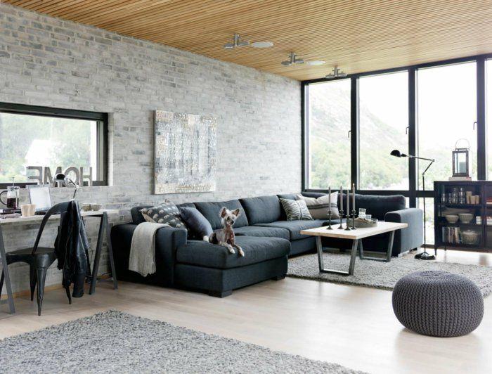 Graues Wohnzimmer ~ Sofa grau wohnzimmer industriell offener wohnplan möbel