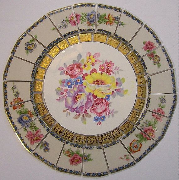 "China Mosaic Tile Set 8 1/2"" Arrangement Design Shabby Floral Pink Yellow Lavender Blue Gold Tesserae Broken Plate Mosaic Art Supply"