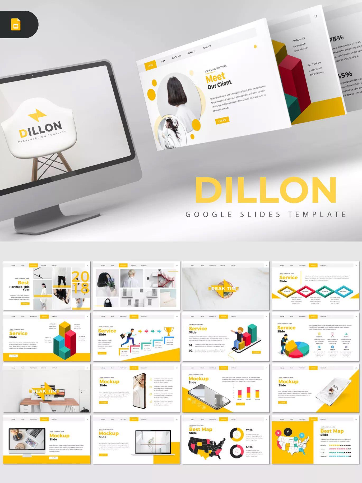 dillon google slide presentation template 30 modern creative