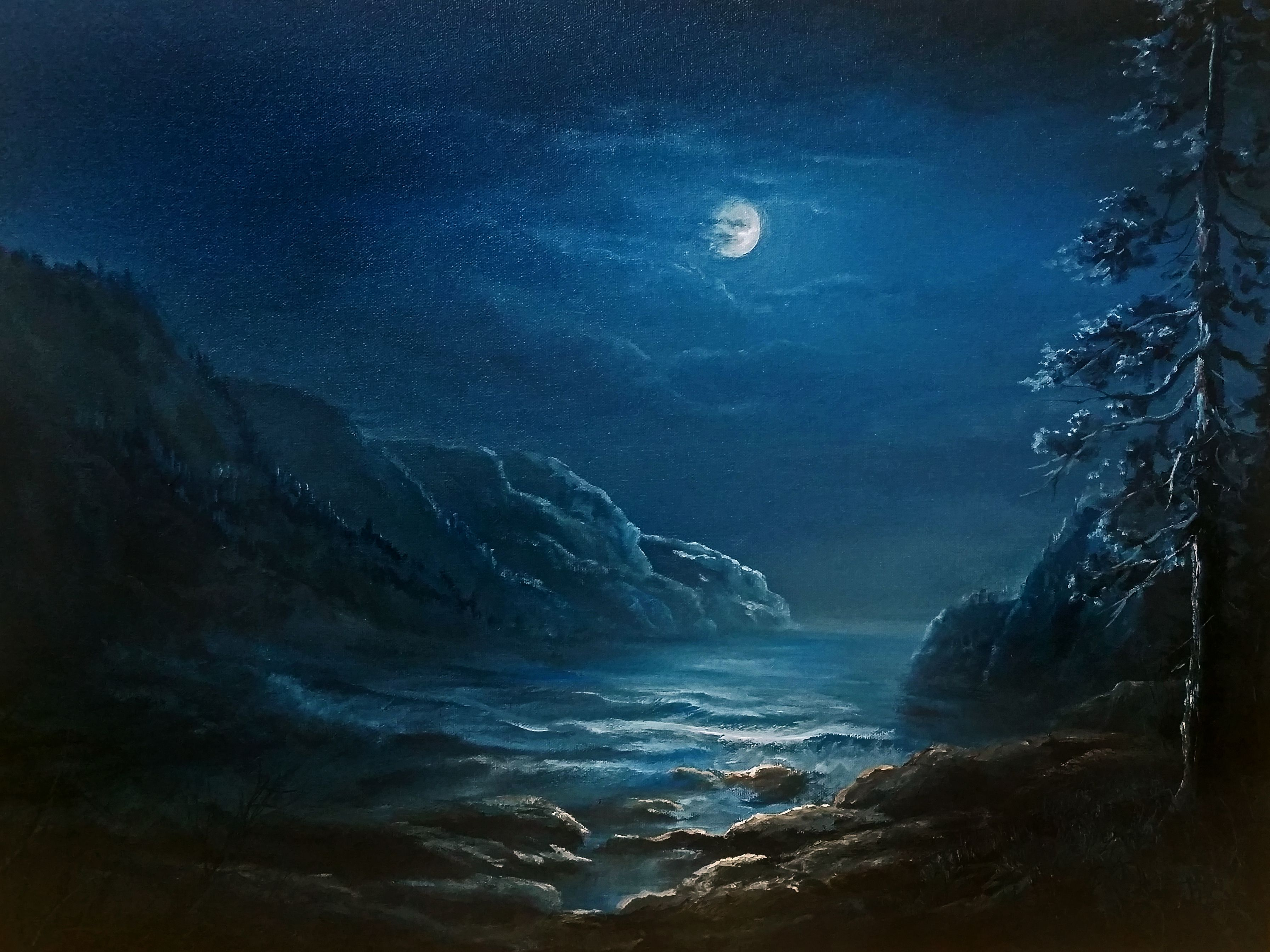 Moonlit Coastline Oil Painting By Kevin Hill Watch Short Oil Painting Lessons On Youtube Kevi Moonlight Painting Kevin Hill Paintings Oil Painting Landscape