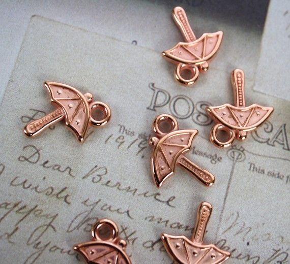 10 Copper Coated Plastic Umbrella Charms 15mm by colinettesupplies, $1.75