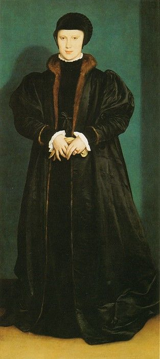 Fur lined coat!  Christina of Denmark, Duchess of Milan by Hans Holbein the Younger, 1538. (National Portrait Gallery, London)