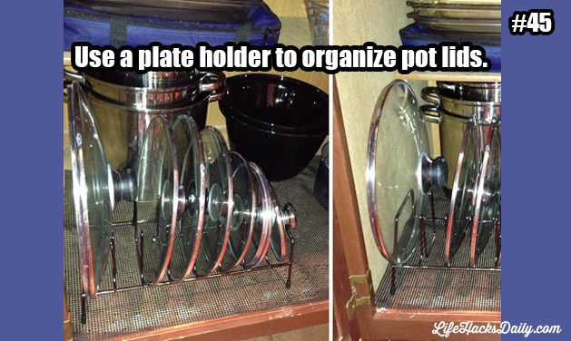 Use a plate holder to organize pot lids. #coupon code nicesup123 gets 25% off at  www.Provestra.com www.Skinception.com and www.leadingedgehealth.com