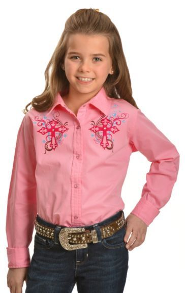 583821dd Cumberland Outfitters Girls' Rhinestone & Crosses Pink Long Sleeve Shirt -  4-16 available at #Sheplers
