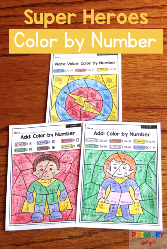 Free color by number math worksheets with Super Heroes are a fun way ...