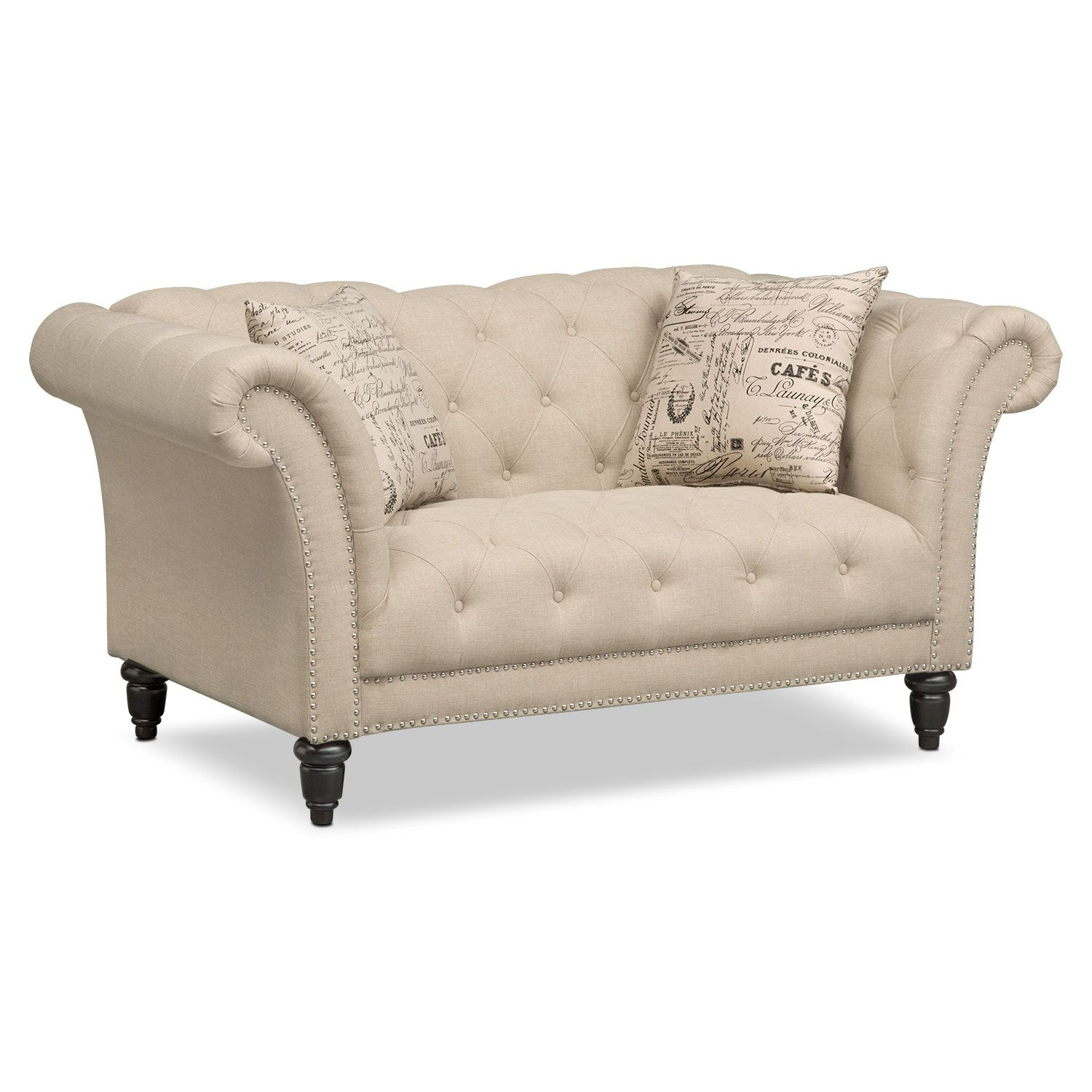 Living Room Loveseats Living Room Furniture Marisol Loveseat Beige The Classics