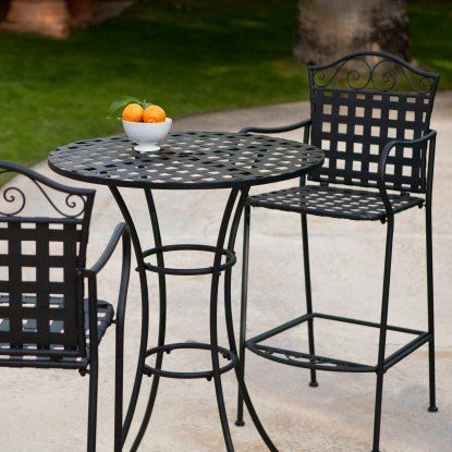 Belham Living Wrought Iron Bar Height Bistro Set By Woodard Outdoor Bistro Sets At Hayneedle Outdoor Bar Stools Iron Patio Furniture Bistro Table Set