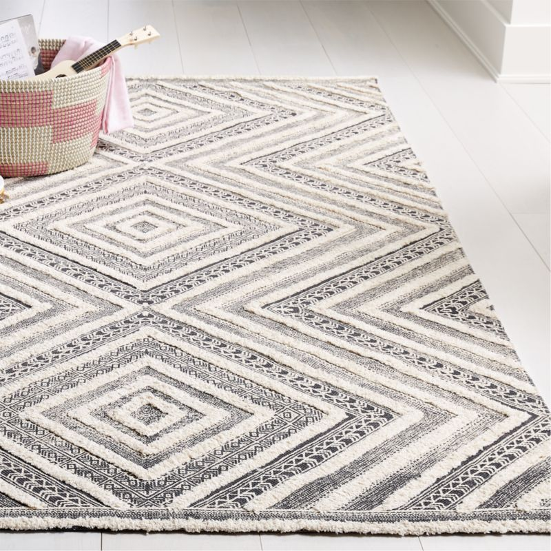 Diamond Neutral Patterned Rug Crate And Barrel Crate Barrel