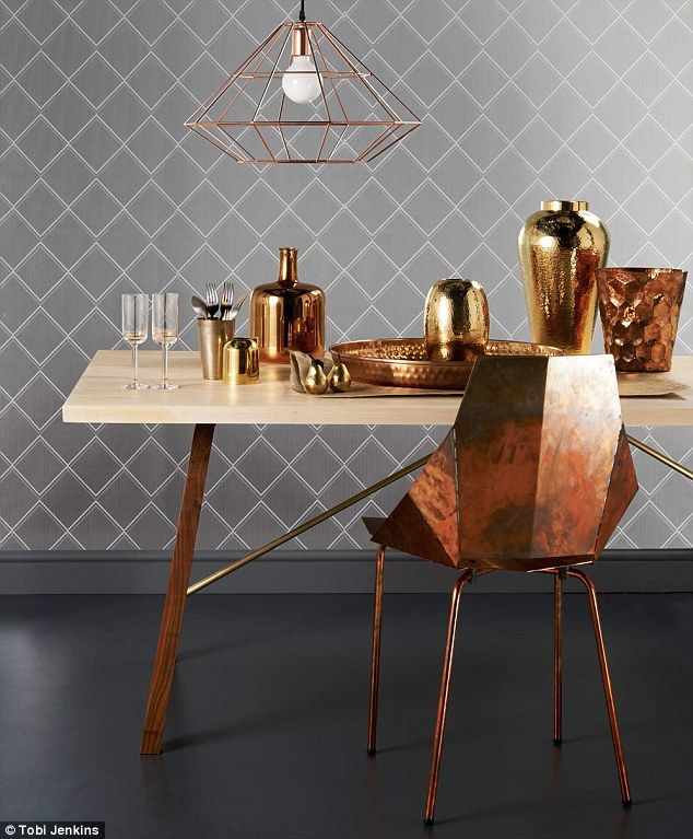 WOOD AND BRASS TABLE, £1,755, Another Country. COPPER CHAIR, £299, Healu0027s.  On Table, From Left: CHAMPAGNE FLUTES, £20 Each, Hollyu0027s House. B..