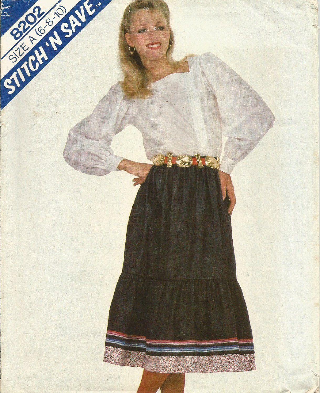 Misses+Blouse+Pattern+Size+6+8+10+Ruffled+Skirt+Pattern+Uncut+McCalls+8202+Stitch+n+Save