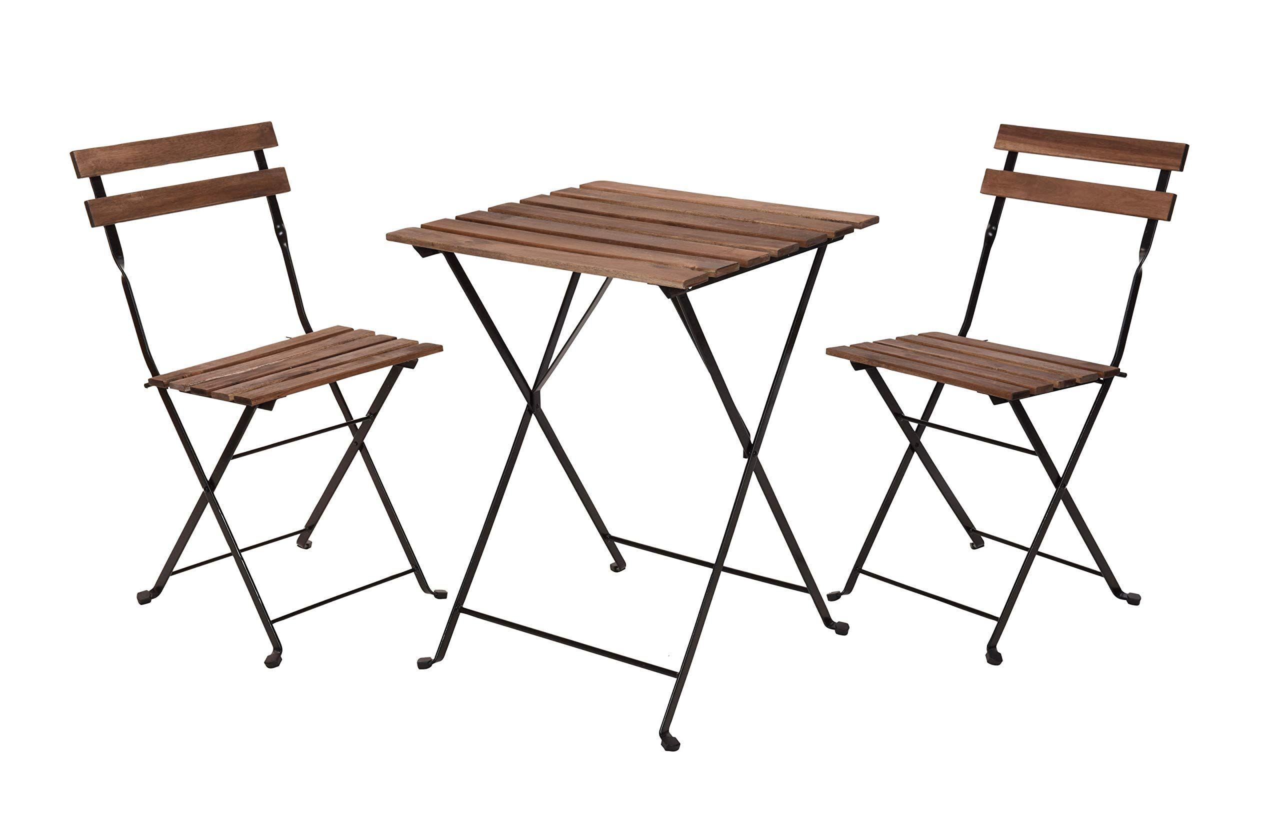 Amazon De Holz Bistroset 2 Metall Stuhle Und Bistrotisch Sitzgruppe Balkonmobel Balkon Set Klappstuhl Klapptisch Bistrotisch Klapptisch Balkonmobel