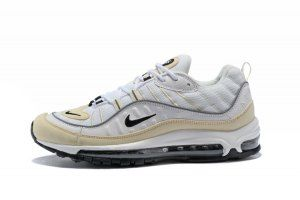 9031d8359c13 Mens Nike Air Max 98 Running Shoes Fossil White Black Fossil Reflect Silver  AH6799 102