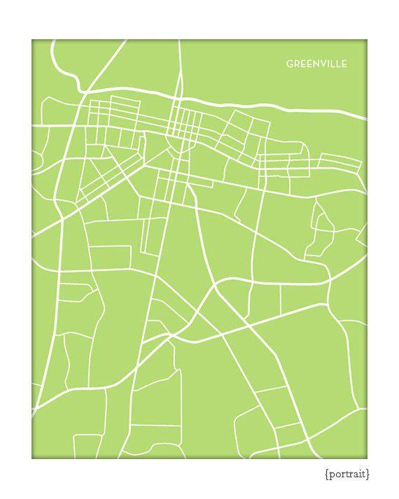 Greenville Nc Map Art Print East Carolina University City Art