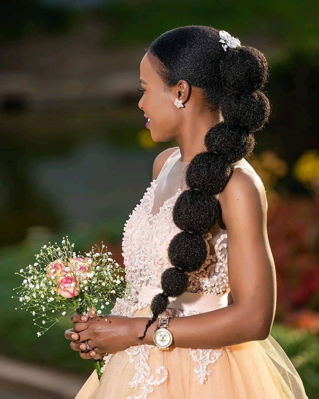 Bubble Pony Anyone Get This Look Using Only One Pack Of Our Afro Twist Marley Hair And Some Good Gel To Sleek Y Marley Hair Afro Twist Natural Hair Wedding