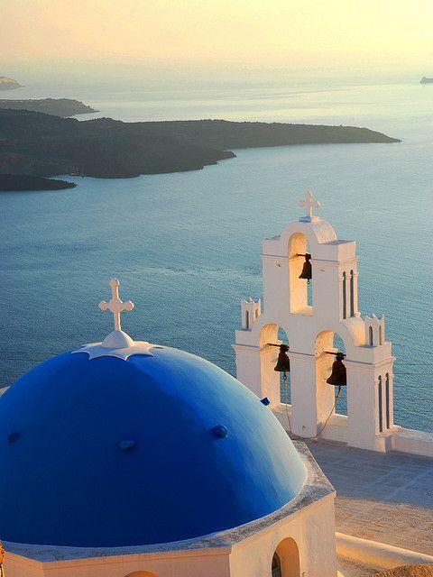 Blue-domed church at sunset, Firostefani, Santorini, Greece