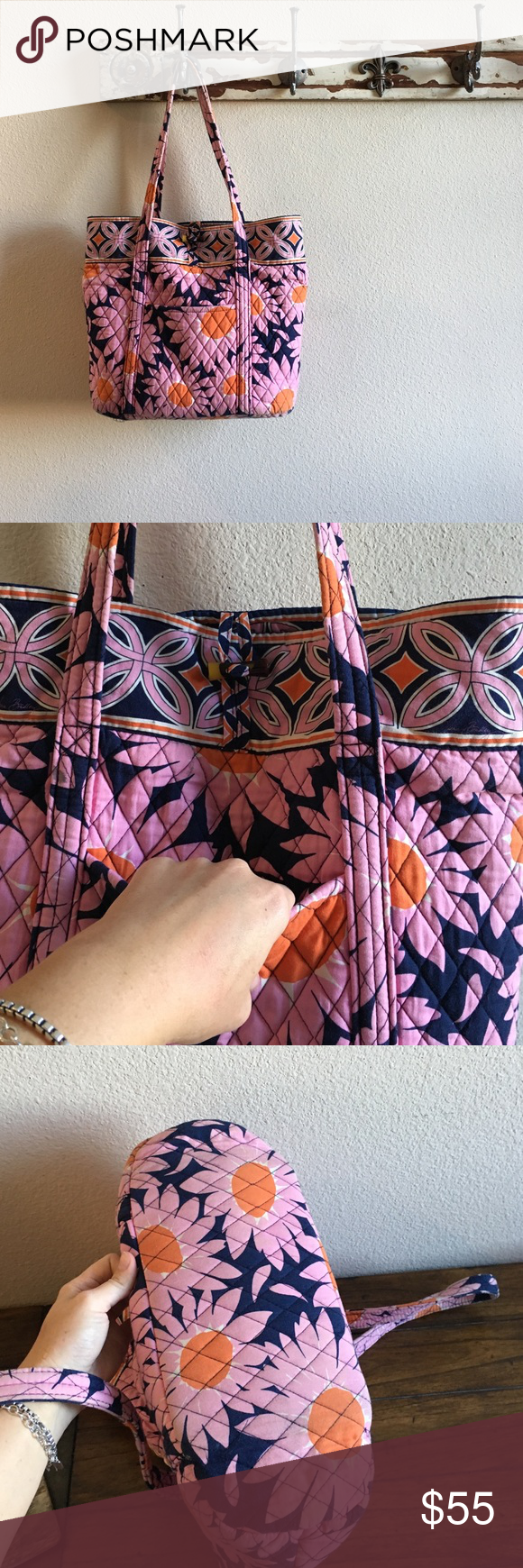 Vera Bradley Large Quilted Tote Like new, front tortoise loop closure in front. Vera Bradley Bags Totes