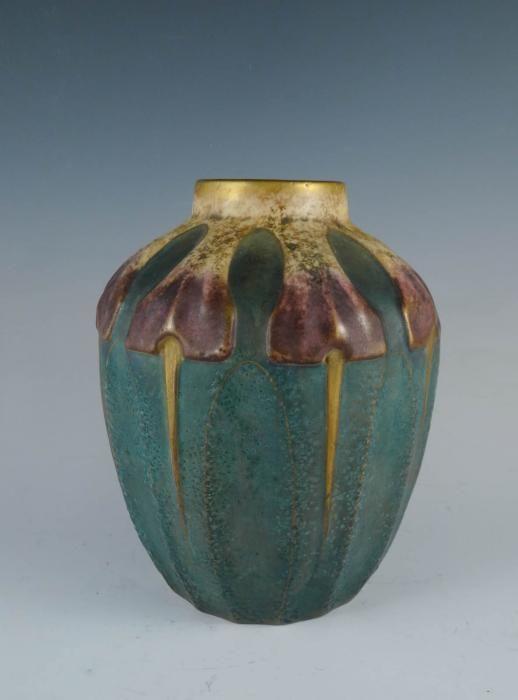 Antique c1900 Amphora Austria Art Nouveau Jugendstil Art Pottery Vase Jardiniere