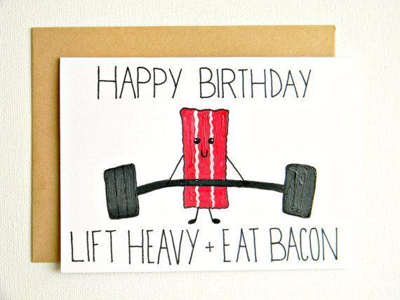 Beachbody Crossfit Fitness Bacon Paleo Birthday Card Etsy Birthday Cards Dad Birthday Card Dad Cards