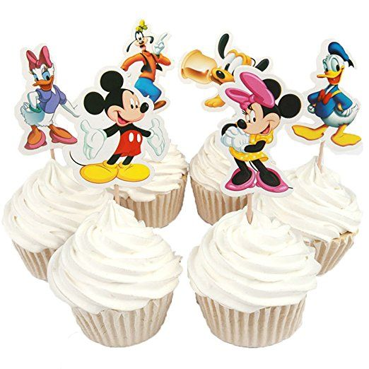 Set 6 Minnie and Mickey Mouse decorations Minnie and Mickey Mouse fondant topper set 6 pieces