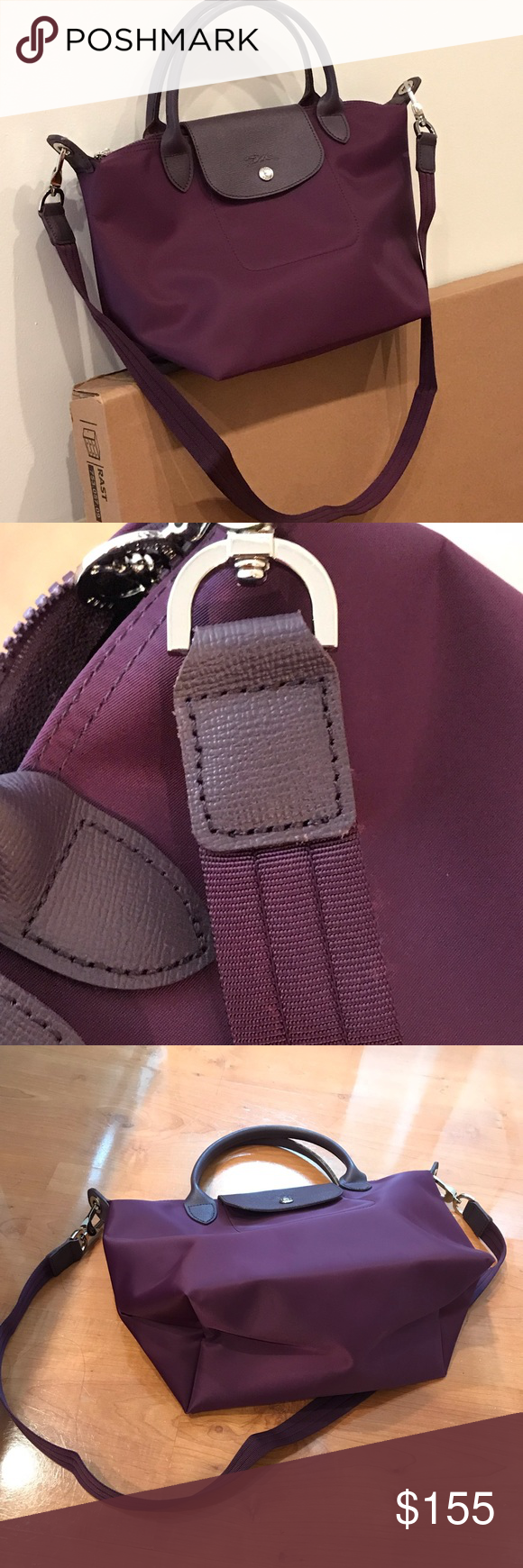 Longchamp Neo Small bag Color is plum purple. Size is small. Fits iPad but f6ebb7d539