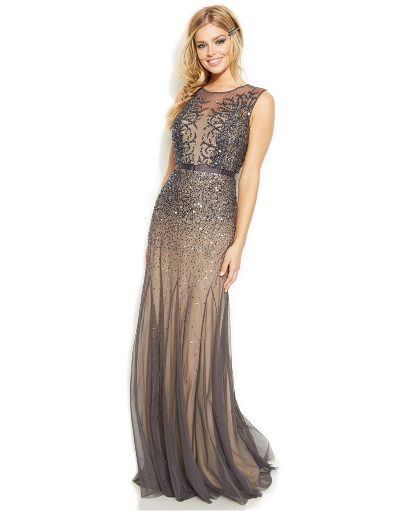 Adrianna Papell Petite Sleeveless Beaded Illusion Gown Dresses