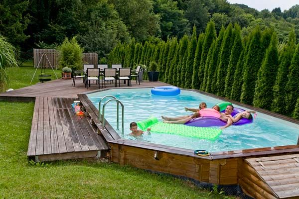 Piscine en bois future pool pinterest backyard - Piscine hors sol octogonale bois ...