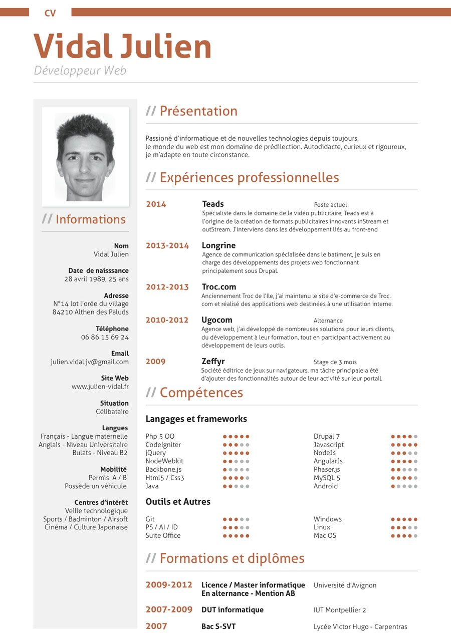 parcours professionnel - mon cv - portfolio vidal julien
