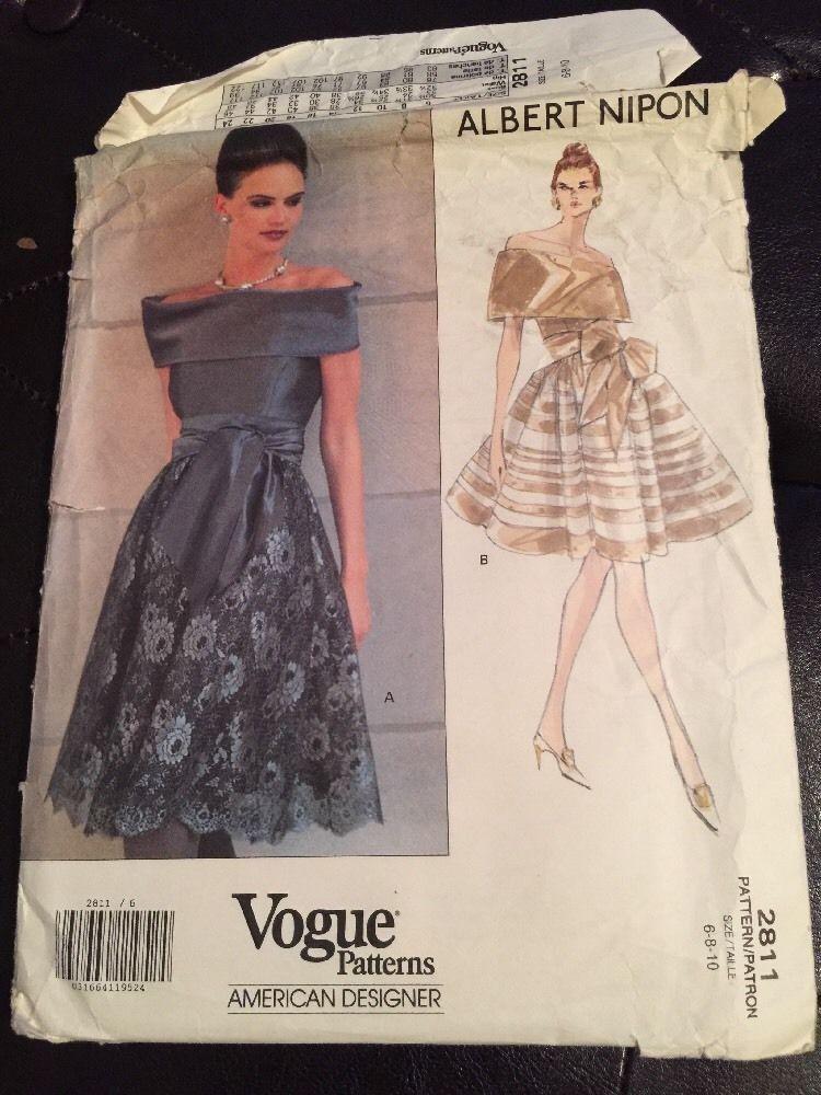 Albert Nipon Vogue Pattern 2811 Dress Size 6 8 10 American Designer