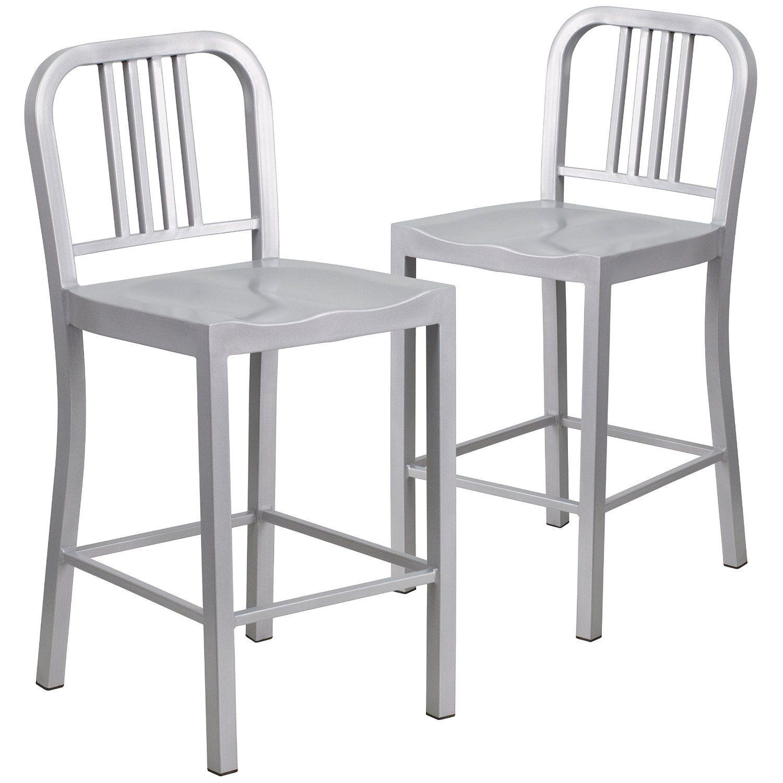 buy popular b59dc 1f748 Amazon.com: 2 Pk. 24'' High Silver Metal Indoor-Outdoor ...