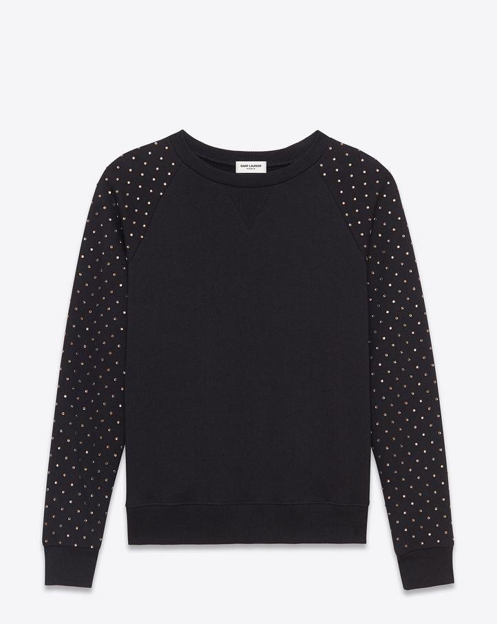 73e17d016e saintlaurent, Studded Crewneck Sweatshirt in Black French Terry ...