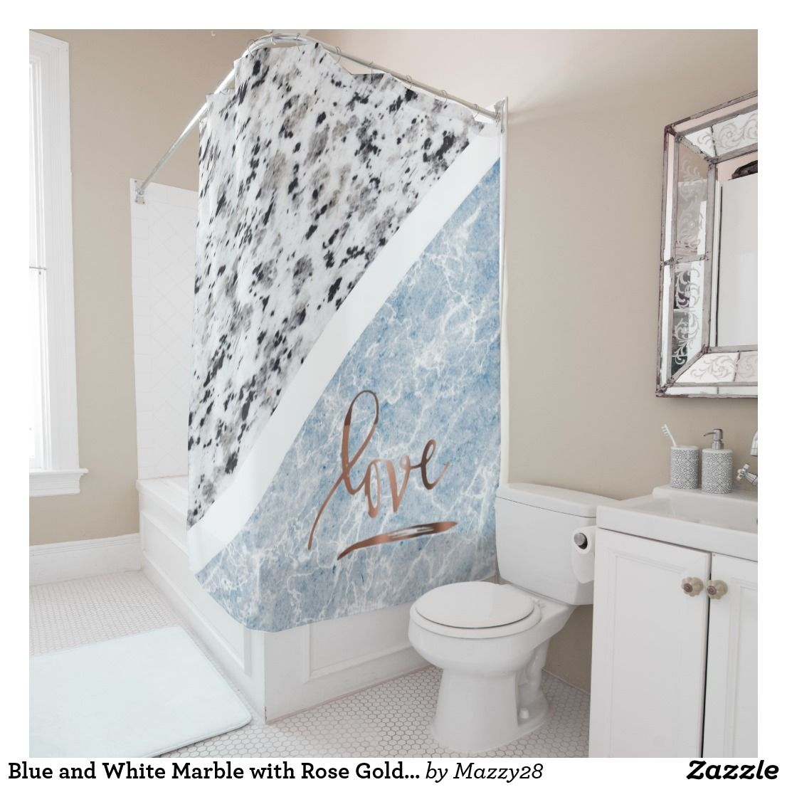 Blue And White Marble With Rose Gold Love Shower Curtain Zazzle