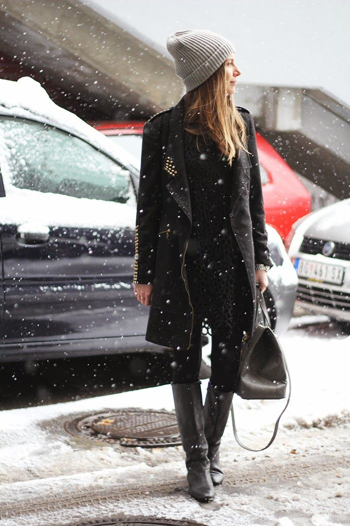 studded black coat