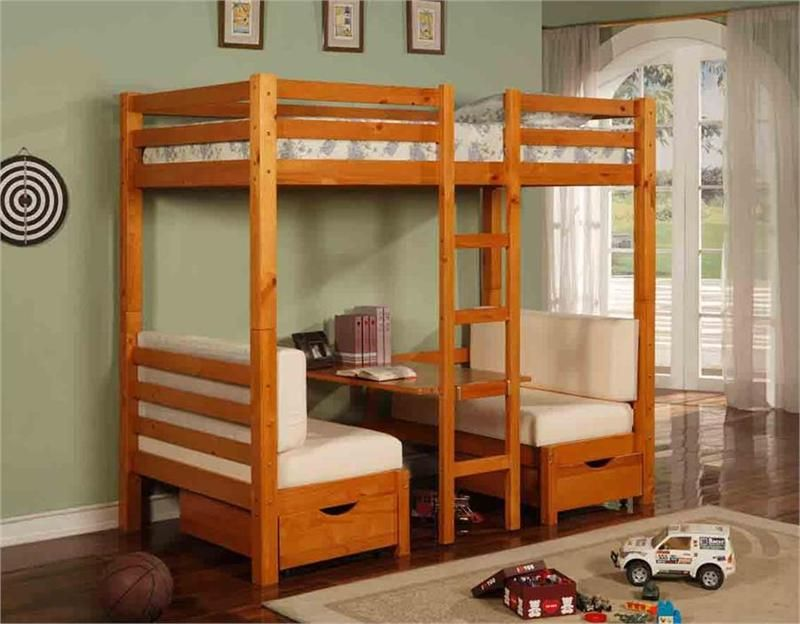 Best Twin Over Table Convertible Bunk Bed In Honey Pine Finish 400 x 300