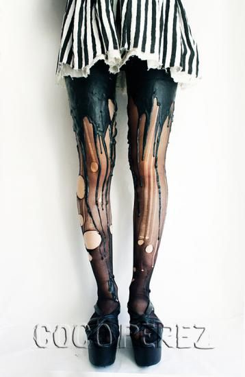 Wow.... so Gaga. melting tights urb clothing [Image via URB Clothing]