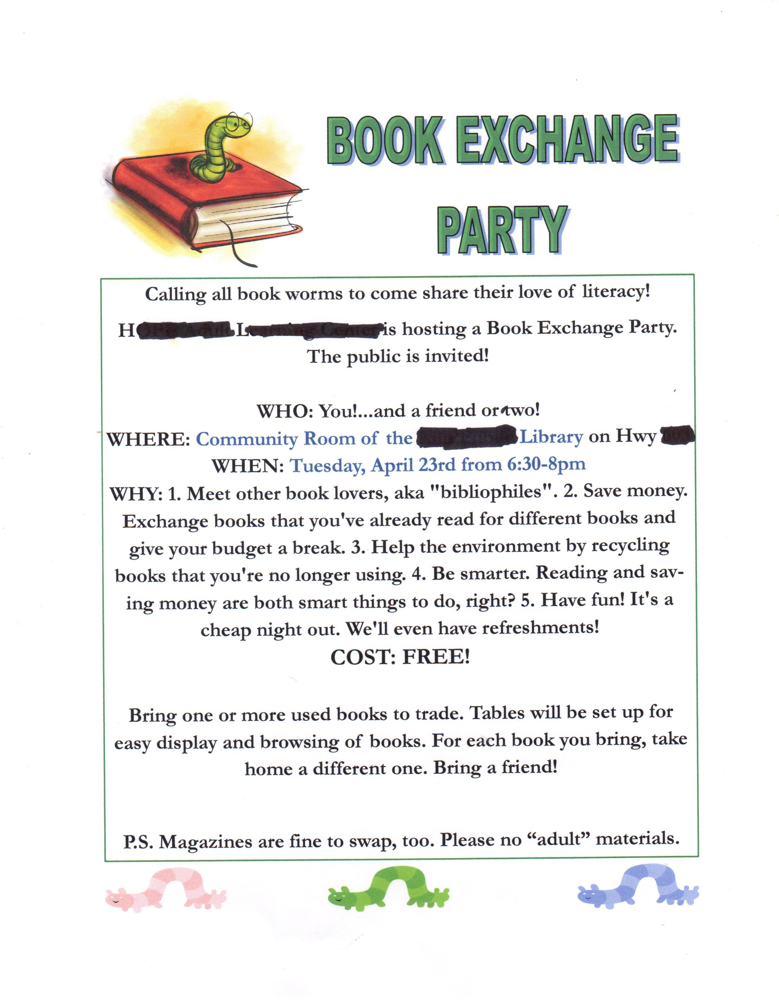 Flyer wording sample for Book Exchange using a \