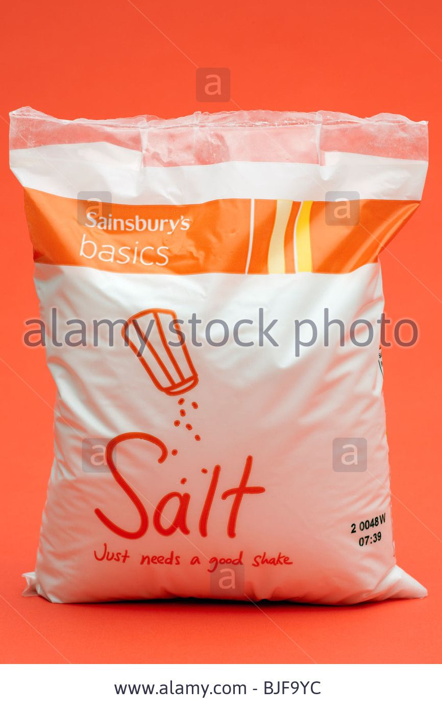 Sainsbury S Basics Bag Of Salt Stock Photo Sainsburys Best Shakes