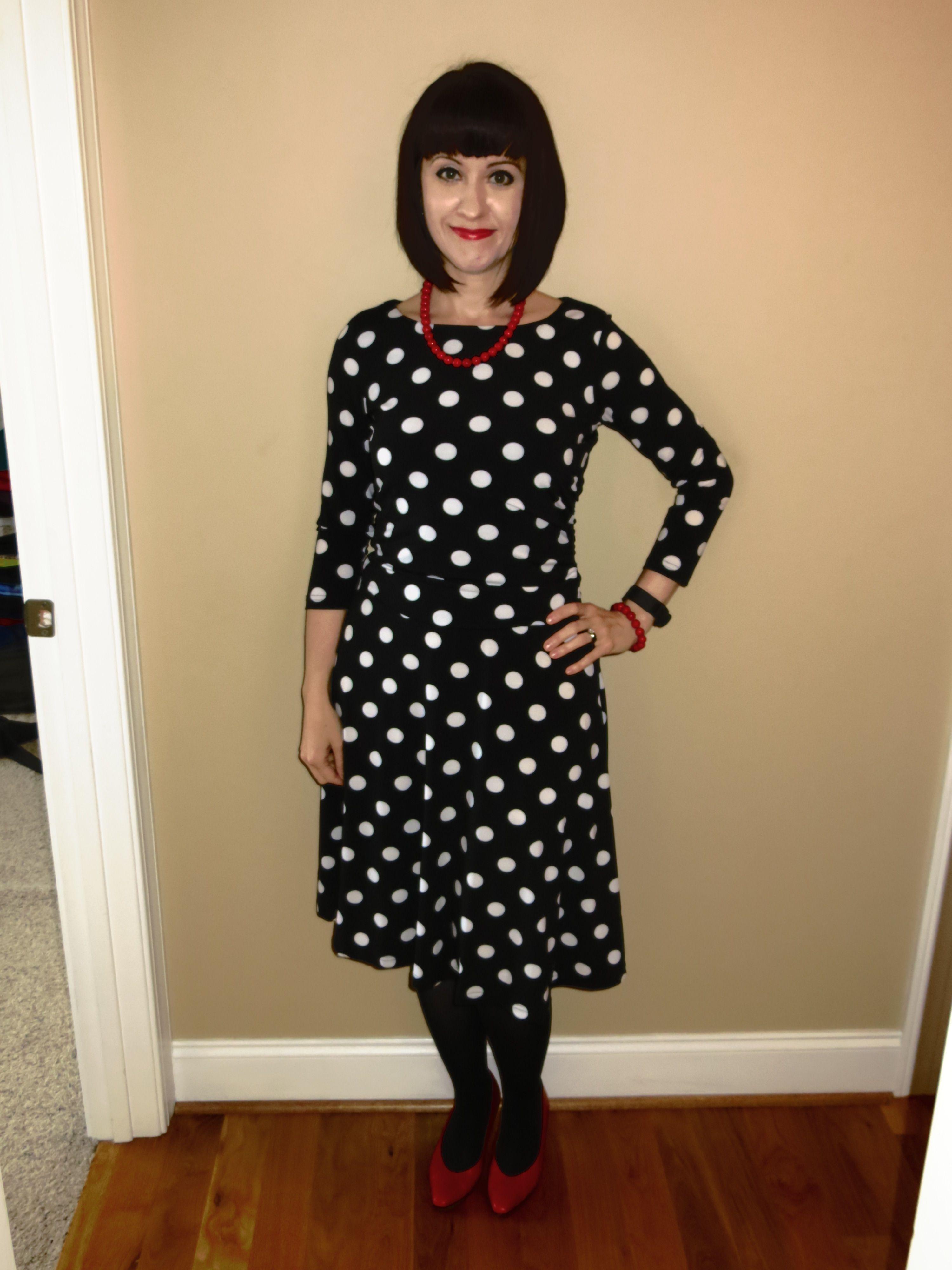 White polka dot dress, Outfits