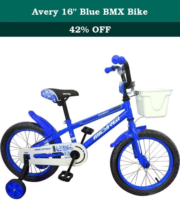 "Avery 16"" Blue BMX Bike. Give your little one the pride of independance with the 16"" Avery by Micargi Bicycles. This BMX style bike has it all with detachable training wheels, a front bucket for storage or play, bell, and fender guards. The sleek and stylish Avery will be like having Christmas in July!."
