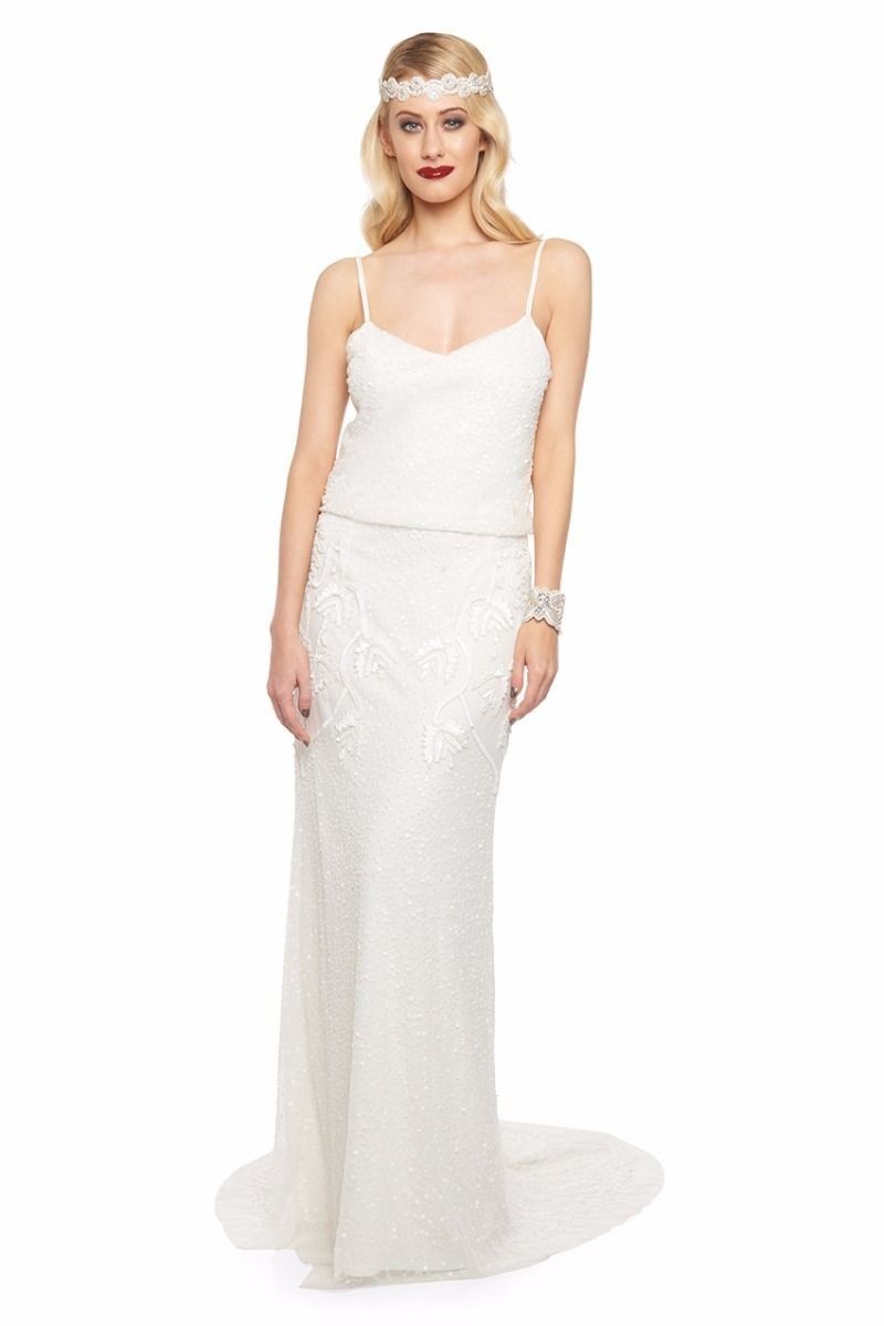 1920s Inspired Wedding Maxi Dress in Off White | Flapper style ...
