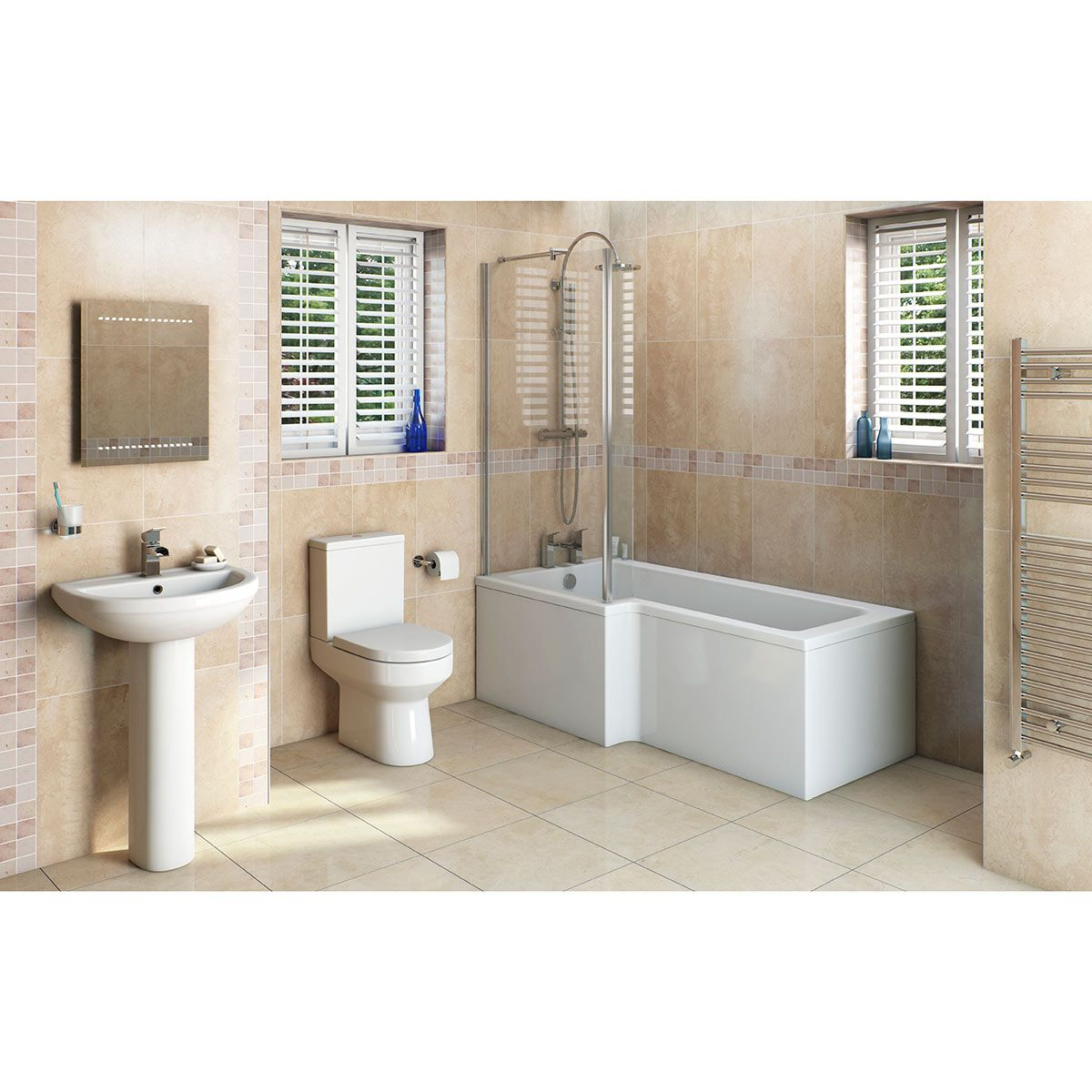 Orchard Wharfe Bathroom Suite With Left Handed L Shaped Shower Bath 1700 X 851