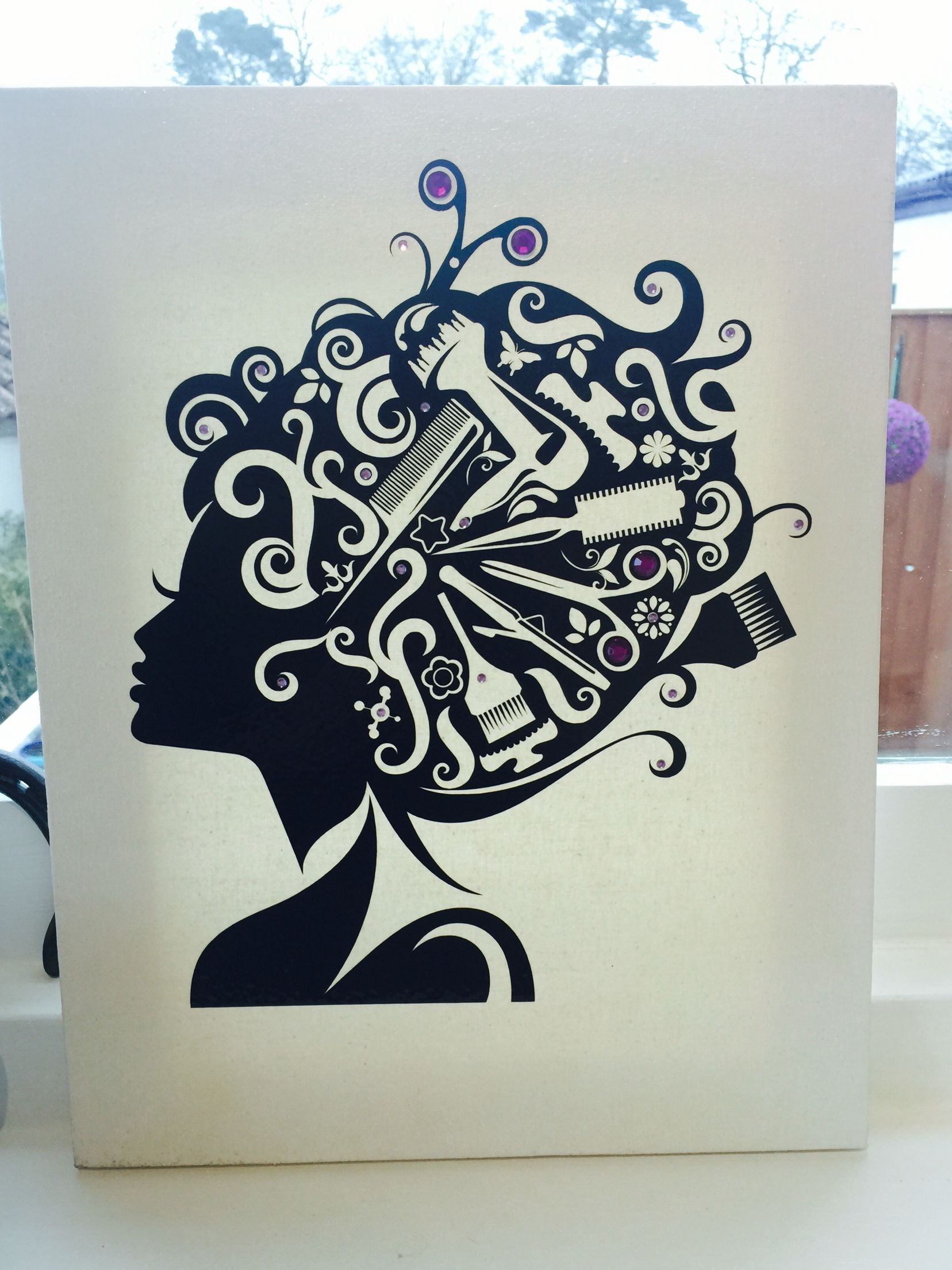 Vinyl on a canvas perfect gift for a hairdresser x Salon