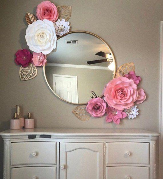 Big set - 11 pieces paper flowers, beautiful for nursery decor, baby shower decor, 3D wall decor