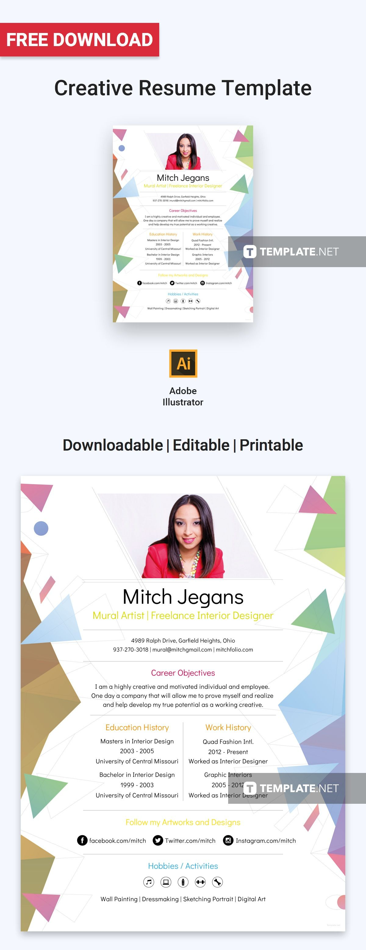 Free creative resume creative resume template free
